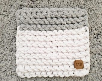 Coaster Hotholder Textile Yarn 16 x 16 cm Grey White