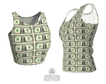 Money crop top, Dollar Bill tank, Cash Print, Tank top, Gym clothes, Athletic tank top, Workout tank top, Women Yoga Top, Hot yoga tanks