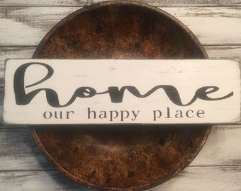 Home Our Happy Place wood sign home decor family farmhouse fixer upper