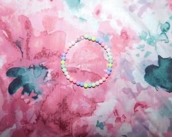 Handmade Multicoloured Pastel Bead Bracelet