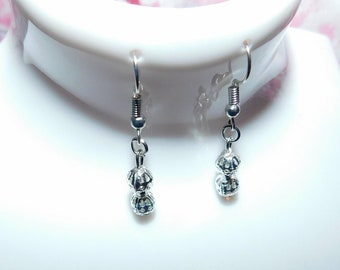 Handmade silver bead dangle earrings