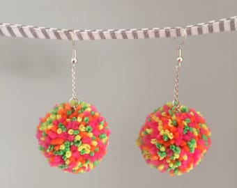 Hundreds and Thousands - handmade pompom earrings