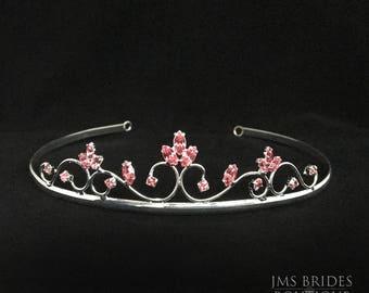 Irene Wedding Rhinestone Pink bridesmaids,Tiara,Bride,large,Bridal l Bridal Crystal Wedding Crown Rhinestone Tiara Wedding Tiara Diamante