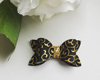 Spring Collection Hair Bow Pack   Black & Gold Leatherette   Baby Bows   Toddler   Glitter   Sparkle  
