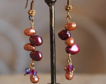 Multi-colored pearl earrings