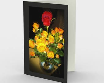 "Notecards: Romantic floral still life. ""Red Among Yellow Roses"" by Malinee Ganahl. Bright Floral Arrangement on Dark Background.  Set of 3."