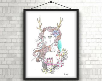 "Original watercolor painting ""Faun"" / / ""Faun original watercolor"""