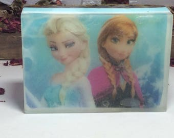 Handmade organic soap with Cartoon FROZEN characters/Anna and Elsa