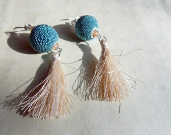 Earrings blue and beige tassel