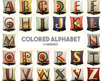 "Complete alphabet, SET 26 pieces of pillows with color letters, Bright color, 16x16"" 40x40 cm, Cotton cushion cover, Child-safe printing"