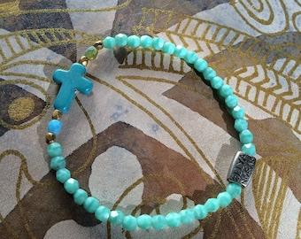 Bracelet - 104 aqua cross