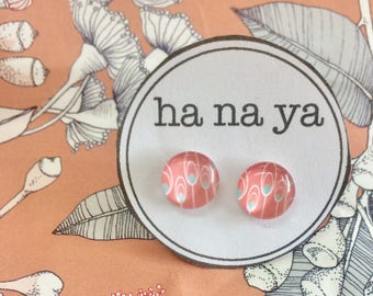 Pink Floral Glass Studs