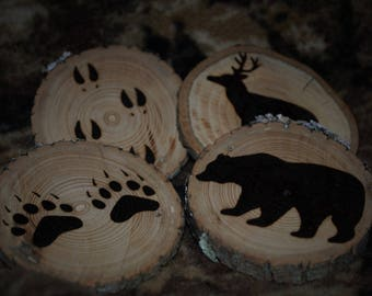 Rustic Deer and Bear coasters