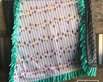 Arrow and Turquoise Fringe Baby Blanket