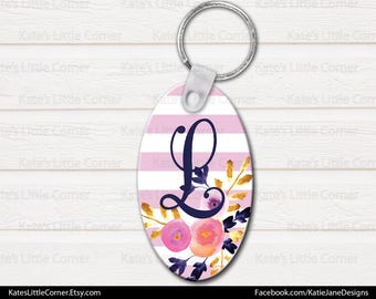 Monogram Keychain, Personalized Keychain, Oval Keychain, Bag Tags, Watercolor Flowers, Luggage Tag, Bag Tag, Sweet Sixteen Gift