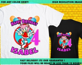 Sonic / Iron On Transfer / Sonic Girl Birthday Shirt Transfer Design / High Resolution / For Any Color T Shirt / 12 Hours Turnaround Time