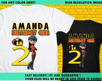 The Incredibles Girl / Iron On Transfer / The Incredibles Girl Birthday Shirt Transfer DIY / High Resolution 300 DPI / Digital Files