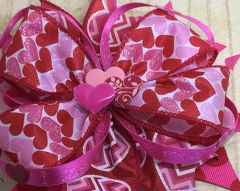 Handmade Boutique stacked hair bow Valentine's Day pink red hearts 5""