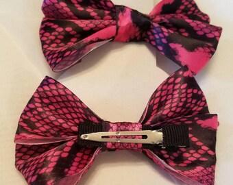 Pink and black snakeskin handmade bow