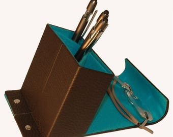 Pen Brown/turquoise, leather, felt, available only at DIPLOMATofIlja