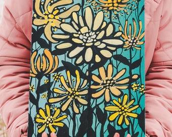 Original flowers painting ready to ship acrylic artwork interior vertical