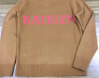 NAiME 2018 SIZE X-LARGE New Personalized Sweaters with NAME Monogram Jumper Colorful Rainbow Fashionable Sweater Made to Order