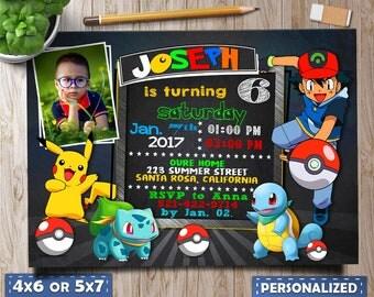 Pokemon Invitation, Pokemon Birthday Invitation, Pokemon Party, Boy Pokemon Invitation, Pokemon GO Printables, Pokemon Invitation with Photo