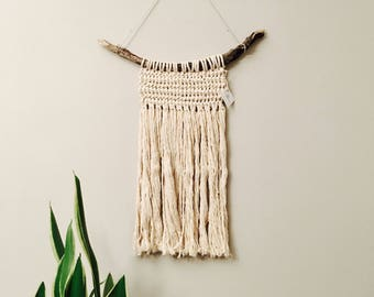macrame with foraged wood