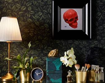 Original Red skull illustration / 20 x 20 cm