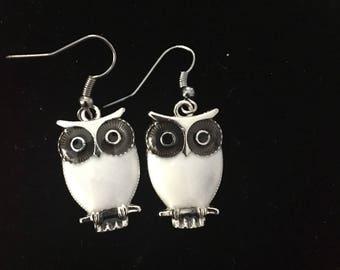White Owl fishhook earrings