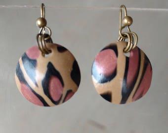 Handmade polymer clay leopard print earrings