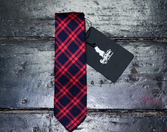 Red and blue tartan tie