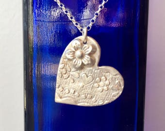 Sterling Silver Heart & Flower Necklace