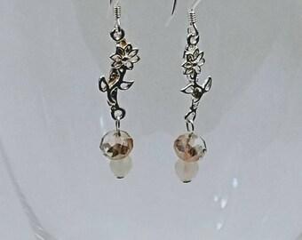 Rose Quartz and Rose Glass Earrings