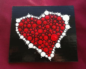 Red and white Valentines Day heart card
