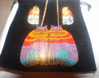 """Vintage """"Limited Edition 1987"""" Laurel Burch Rainbow Cat Necklace and Earring Set"""
