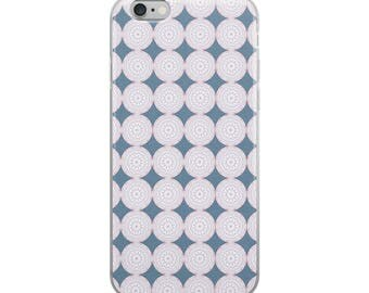 Geometric Patterned Pink and Blue iPhone Case