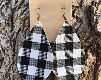Buffalo Plaid Earrings, Checker Earrings, Black and white earrings, teardrop earrings, faux leather earrings, dangle earrings, spring earrin