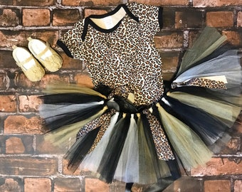 Baby Girl Leopard Outfit - Baby Leopard Outfit - Leopard Tutu - Leopard Outfit