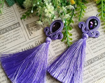 Beautiful Purple Crystal Soutache Earrings Statement Earrings Ethnic Boho Chic Long Purple Tassel Earrings