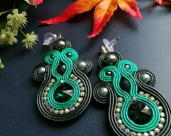 Elegant Emerald Crystal Silver Beads Soutache Earrings Statement Wedding Earrings Ethnic Boho Chic Green and Dark Gray Earrings
