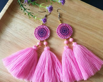 Handcraft Embroidered Tribal Ethnic Earrings Statement Dangle Drop Boho Chic Beaded Tassel Sweet Pink Earrings