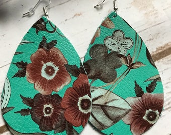 Turquoise Aqua Floral Leather Teardrop Earrings