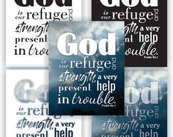 "8x10"" Print - Psalm 46:1 (KJV) - 5 Styles - Bible Verse Art"