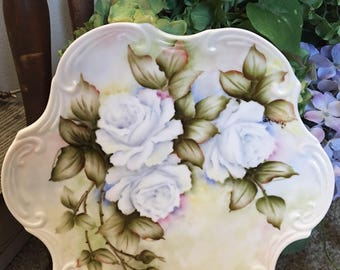 """10"""" Scrolled Plate with Roses China Hand Painted Porcelain Flowers wall decor"""