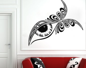 Wall Decal Window Sticker Beauty Salon Woman Face Eyelashes Lashes Eyebrows Brows t59