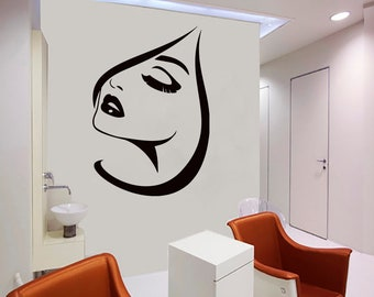 Wall Decal Window Sticker Beauty Salon Woman Face Eyelashes Lashes Eyebrows Brows t62