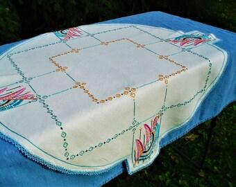 Antique Embroidered Parlor Tablecloth 1920s, Art Nouveau Magnificent Condition!