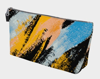 Grunged Watercolors Lined Makeup Bag