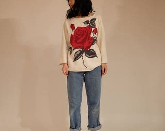 Rose 3/4 Sleeve Sweater, S/M